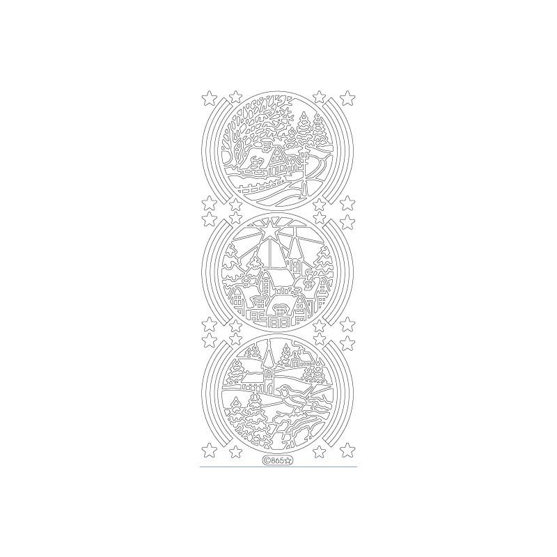 STICKER PAYSAGE NOEL ROND 865