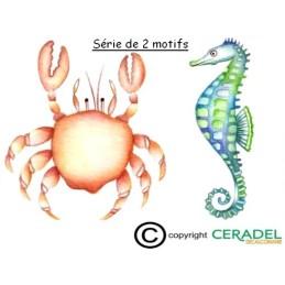 CRABE HIPPOCAMPE Série de 2 motifs