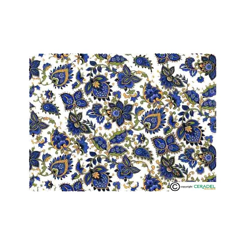 PAISLEY BLUE CHINTZ DIM.50X70