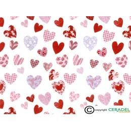 PATCHWORK HEARTS Dim.50X70cm**