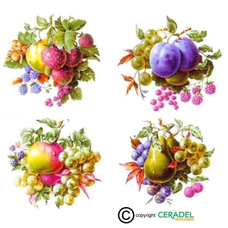 FRUITS Série de 4 Motifs